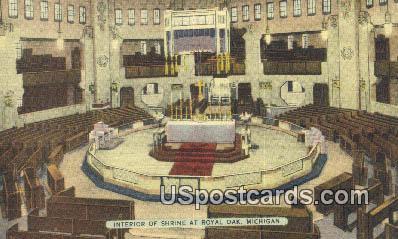 Interior of Shrine - Royal Oak, Michigan MI Postcard