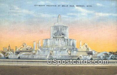 Scott Fountain, Belle Isle - Detroit, Michigan MI Postcard