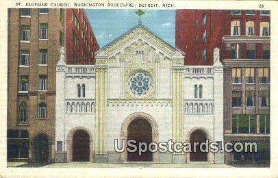 St Aloysius Church - Detroit, Michigan MI Postcard