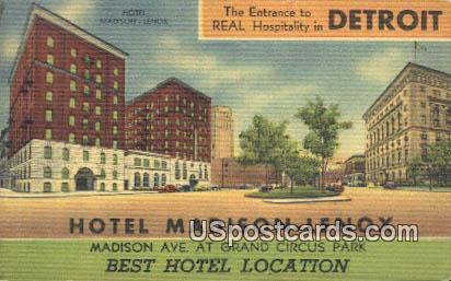 Hotel Madison Lenox - Detroit, Michigan MI Postcard