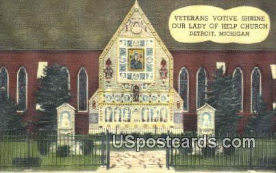 Shrine Our Lady of Help Church - Detroit, Michigan MI Postcard