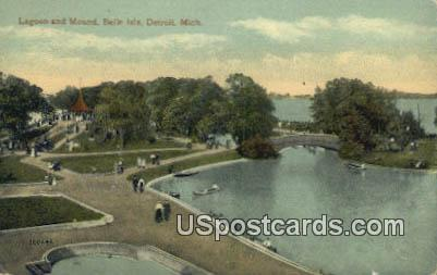 Lagoon & Mound, Belle Isle - Detroit, Michigan MI Postcard