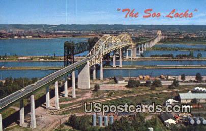 Soo Locks - Sault Ste Marie, Michigan MI Postcard