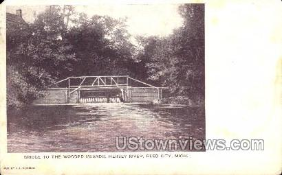 Bridge to the wooded island, Hersey River - Reed City, Michigan MI Postcard
