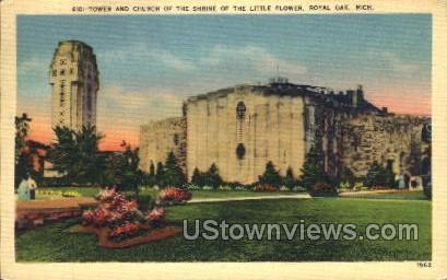 Church of the Shrine of the Little Flower - Royal Oak, Michigan MI Postcard