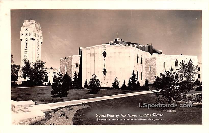 South View of Tower and Shrine - Royal Oak, Michigan MI Postcard