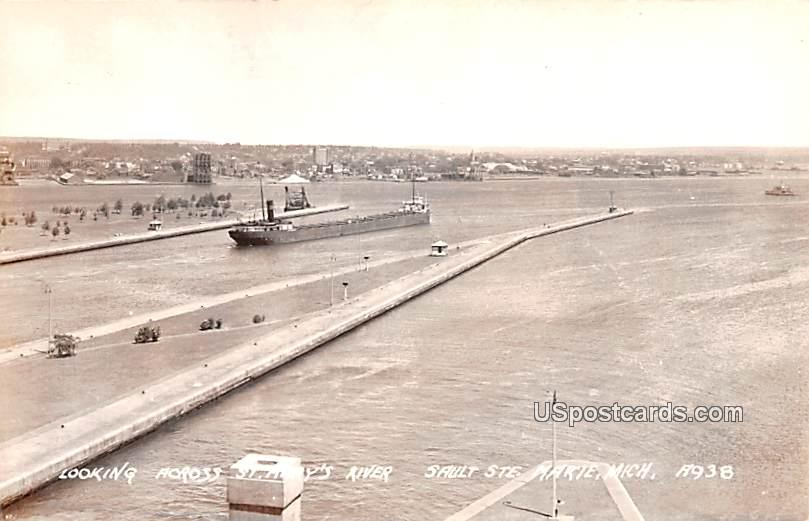 Looking Across St Mary's River - Sault Ste Marie, Michigan MI Postcard