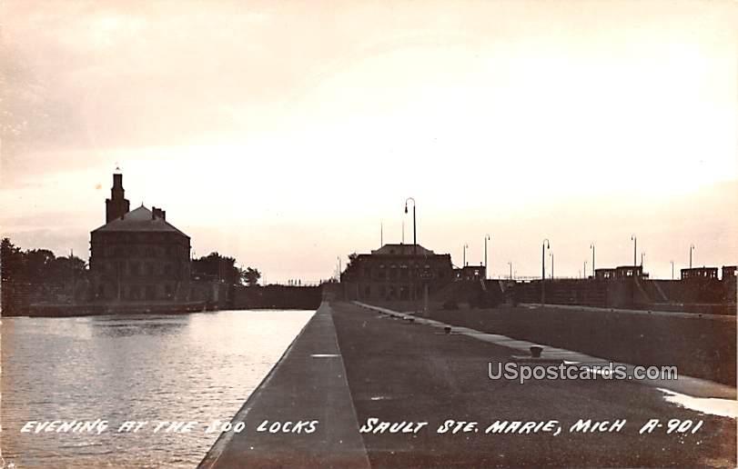 Evening at the Soo Locks - Sault Ste Marie, Michigan MI Postcard