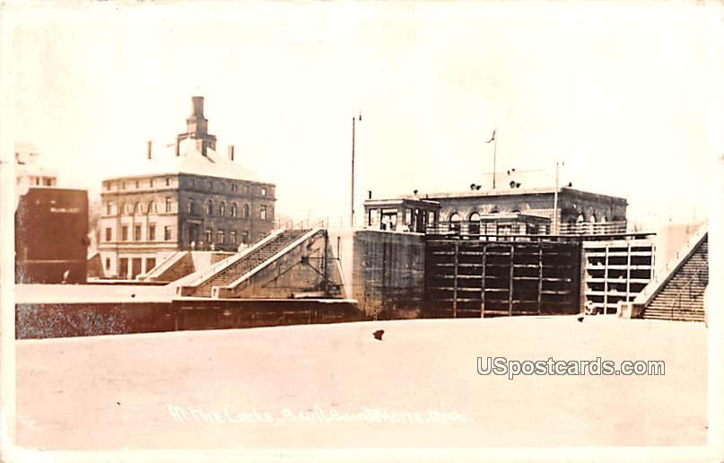 At the Locks - Sault Ste Marie, Michigan MI Postcard
