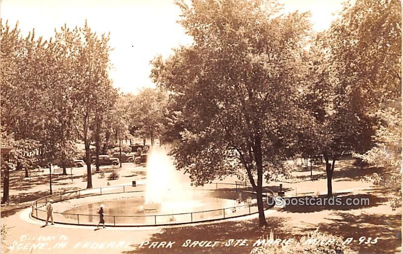 Scene in Federal Park - Sault Ste Marie, Michigan MI Postcard