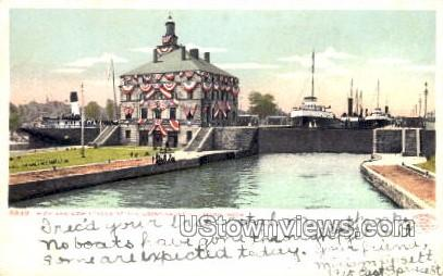 High and Low Levels at the Locks  - Sault Ste Marie, Michigan MI Postcard