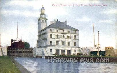 Power House and Locks - Sault Ste Marie, Michigan MI Postcard