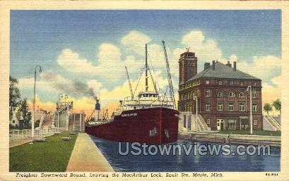 Freighter Downward Bound - Sault Ste Marie, Michigan MI Postcard