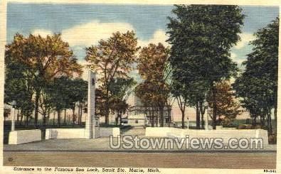 Entrance to the Famous Soo Lock - Sault Ste Marie, Michigan MI Postcard