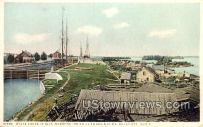 State Locks in 1865 - Sault Ste Marie, Michigan MI Postcard