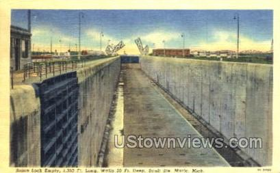 Sabin Lock Empty - Sault Ste Marie, Michigan MI Postcard