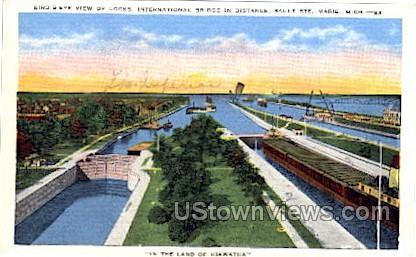 International Bridge in distance - Sault Ste Marie, Michigan MI Postcard