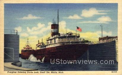 Freighters entering Davis Locj - Sault Ste Marie, Michigan MI Postcard