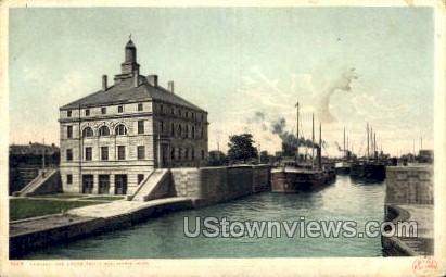 Leaving the Locks - Sault Ste Marie, Michigan MI Postcard