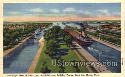 Locks from Administration Building Tower - Sault Ste Marie, Michigan MI Postcard