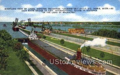 Birds- eye view of Locks - Sault Ste Marie, Michigan MI Postcard