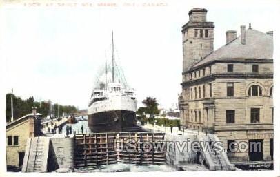 Lock at Sault Ste Marie - Michigan MI Postcard