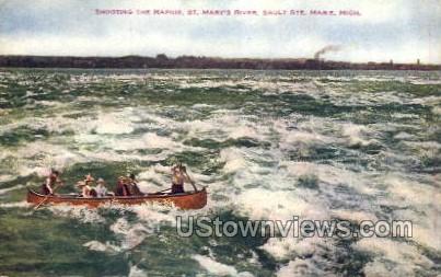 St. Mary's River - Sault Ste Marie, Michigan MI Postcard