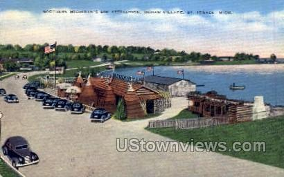 Indian Village - St. Ignace, Michigan MI Postcard