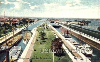 The Locks - Sault Ste Marie, Michigan MI Postcard