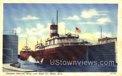 Davis Lock - Sault Ste Marie, Michigan MI Postcard