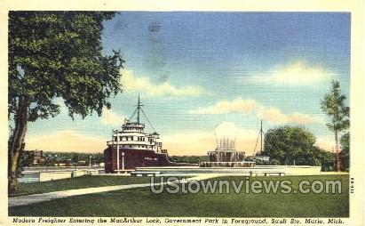 MacArthur Lock - Sault Ste Marie, Michigan MI Postcard