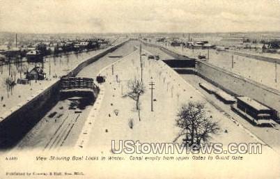 Boat Locks in Winter - MIsc, Michigan MI Postcard