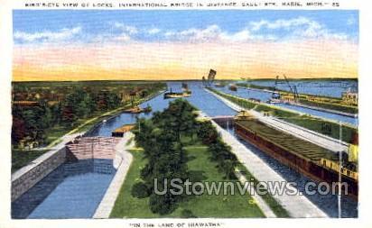 The Locks, International Bridge - Sault Ste Marie, Michigan MI Postcard