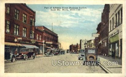 Ashmun Street Business Section - Sault Ste Marie, Michigan MI Postcard