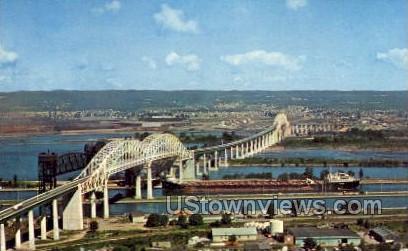 Soo Locks and International Bridge - Sault Ste Marie, Michigan MI Postcard