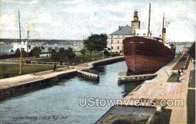 The Locks - MIsc, Michigan MI Postcard