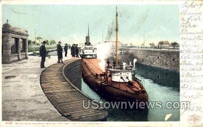 Whaleback Steamer Passing Lock Gate - Sault Ste Marie, Michigan MI Postcard