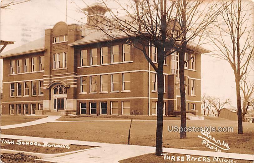 High School Building - Three Rivers, Michigan MI Postcard