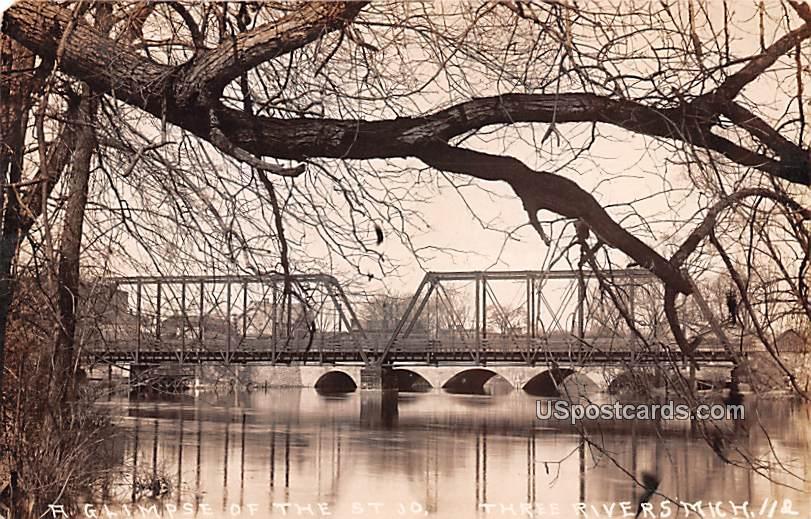 A Glimpse of the St Jo - Three Rivers, Michigan MI Postcard