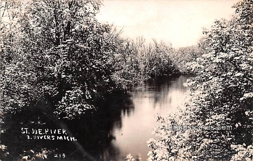 St Joe River - Three Rivers, Michigan MI Postcard