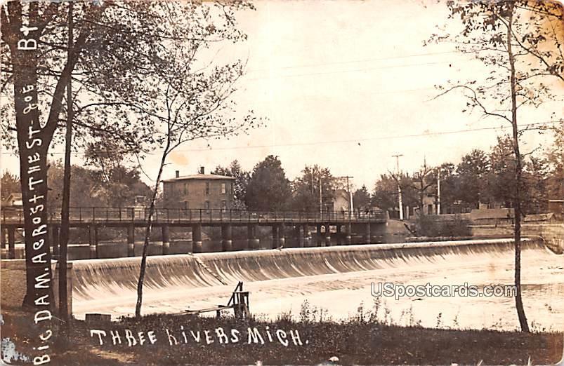 Big Dam Across The Street - Three Rivers, Michigan MI Postcard