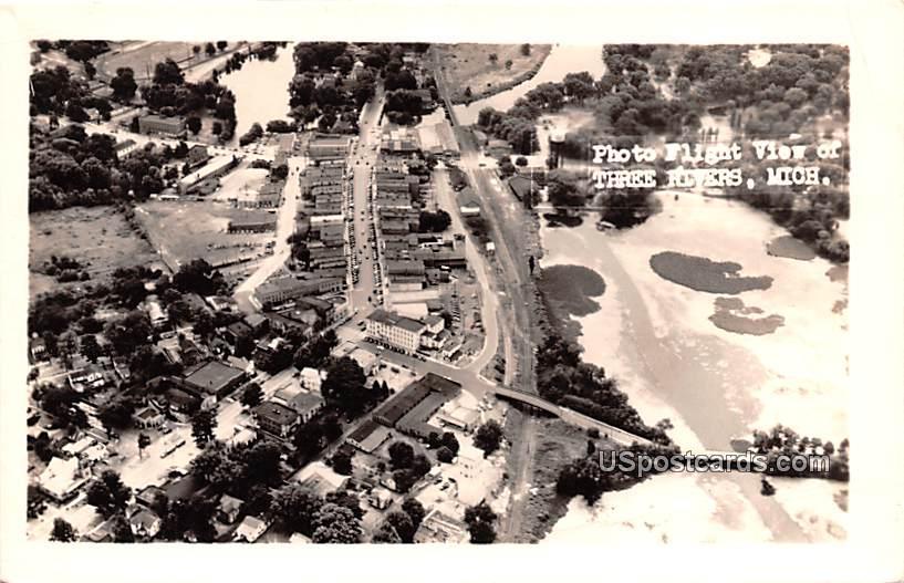 Photoflight View - Three Rivers, Michigan MI Postcard