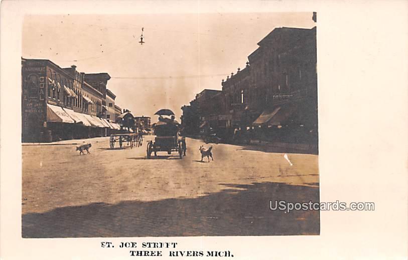 St Joe Street - Three Rivers, Michigan MI Postcard