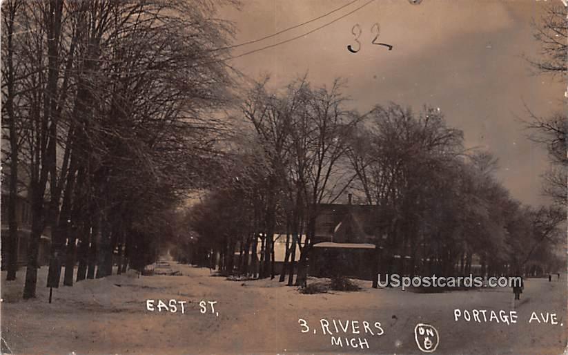 East Street - Three Rivers, Michigan MI Postcard