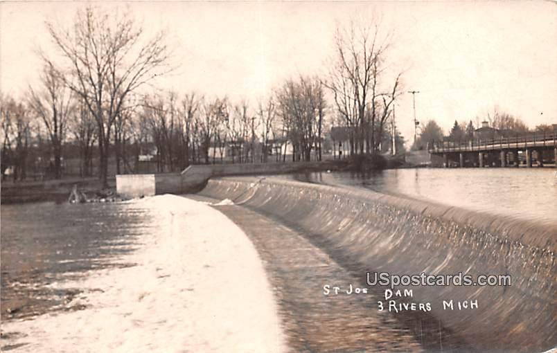 St Joe Dam - Three Rivers, Michigan MI Postcard