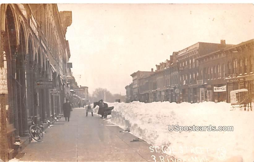 St Joe Street, Delivery Wagon on Sleigh - Three Rivers, Michigan MI Postcard
