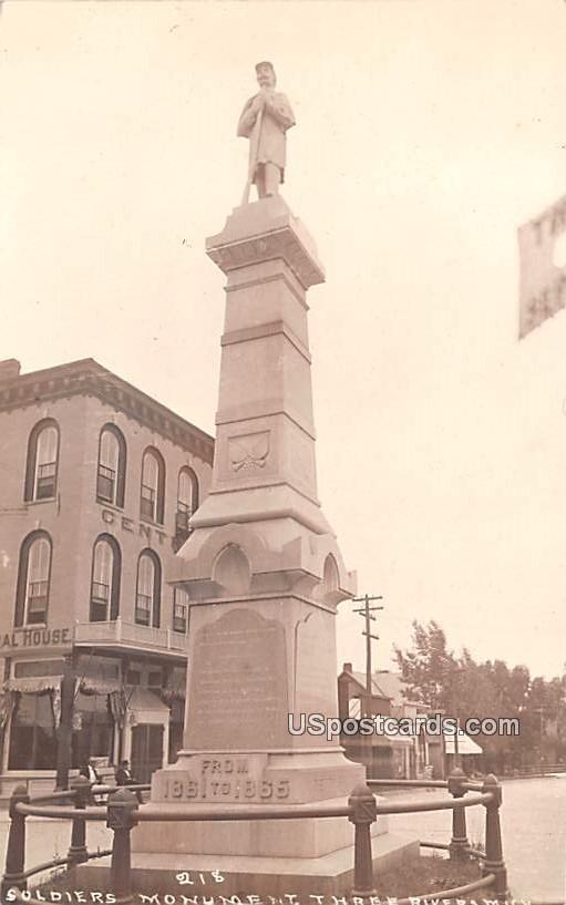 Soldiers Monument - Three Rivers, Michigan MI Postcard
