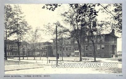 High School - Three Rivers, Michigan MI Postcard