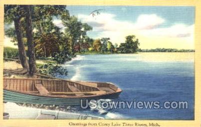 Corey Lake - Three Rivers, Michigan MI Postcard