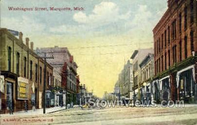 Washington Street  - Marquette, Michigan MI Postcard